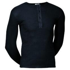 JBS Original Langærmet T-shirt m/knapper Sort