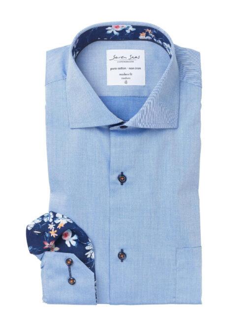 Seven Seas Skjorte FINE TWILL W-CUBA BLUE Light Blue