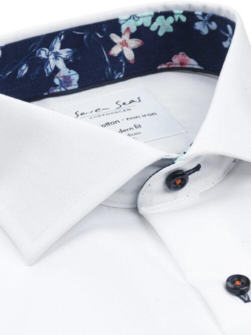 Seven Seas Skjorte FINE TWILL W-CUBA BLUE White