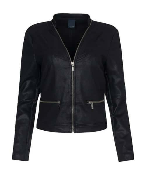 One Two Luxzuz Maise Coated Suede Jacket Black