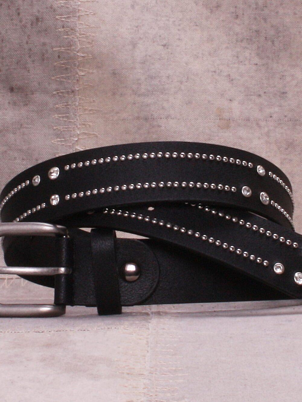 Bæltekompagniet Black belt with strass and rivets
