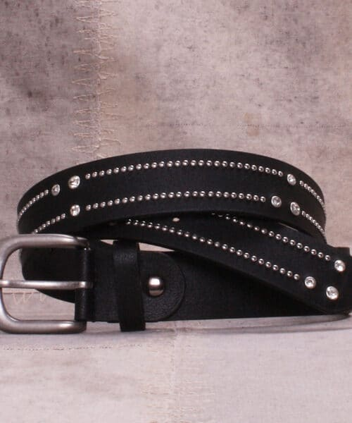 Bæltekompagniet Black belt with strass and rivets