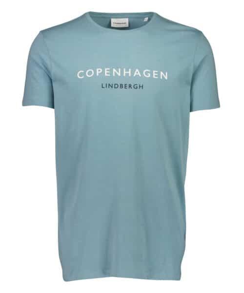 Lindbergh White City Print Tee Copenhagen Mid Blue