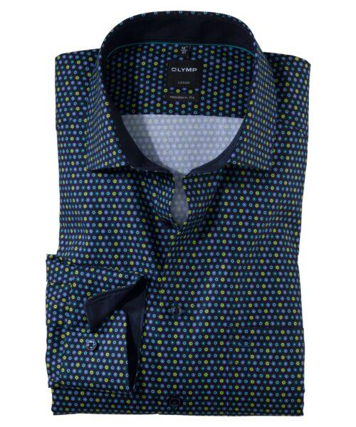 Olymp Luxor Skjorte Global Kent Green Dots