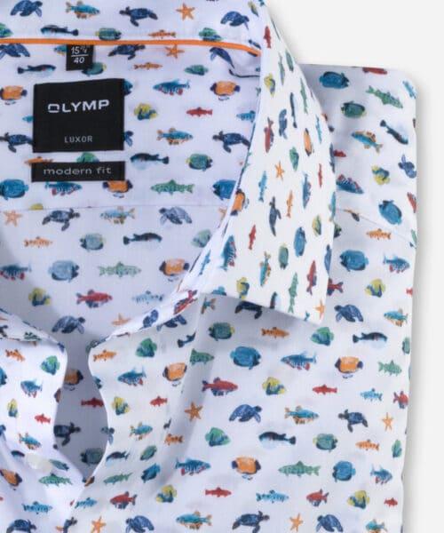 Olymp Luxor Skjorte Global Kent White Fish