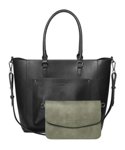 Rosemunde Big Bag + Clutch Black oxid - Leaf Green