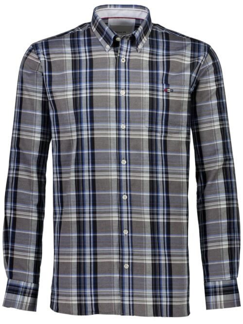 Bison Skjorte Brushed Checked Black