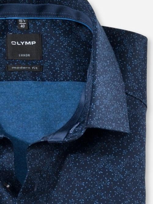 Olymp Luxor Skjorte Marine Flowers