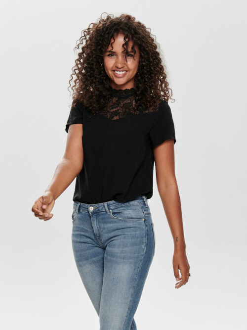 Only First Life Lace Top Black