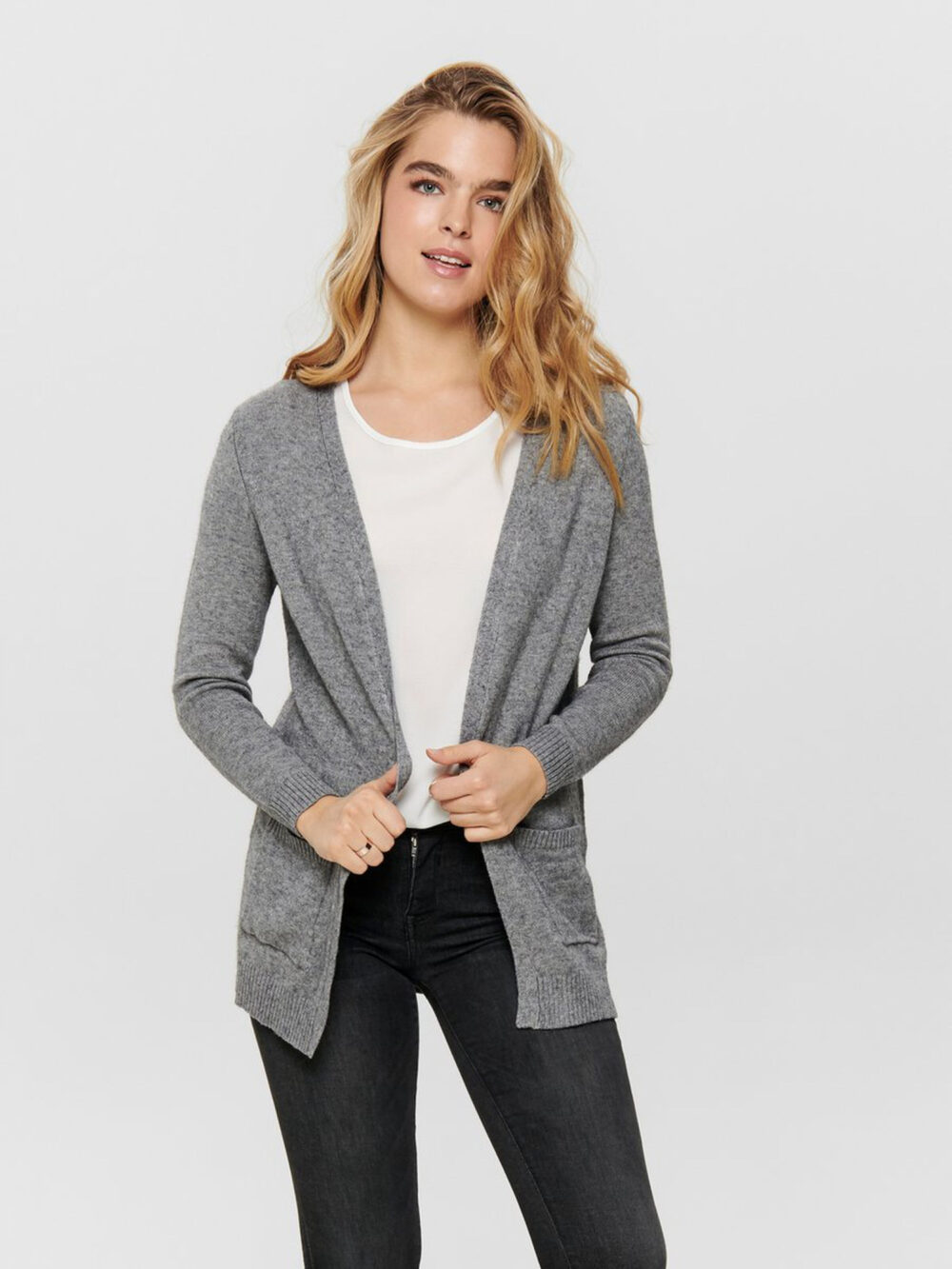 Only Lesly Open Cardigan Medium Grey Melange