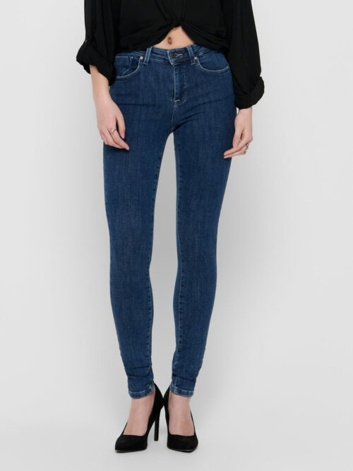 Only Power Life Mid Push Up Skinny Jeans Dark Blue Denim