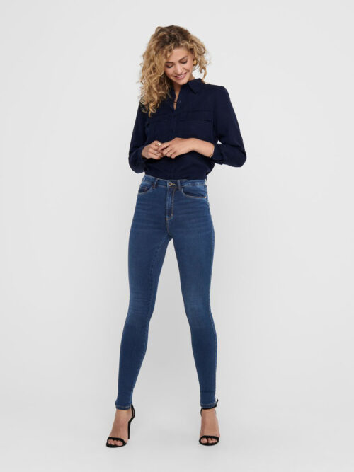 Only Royal Life High Skinny Jeans Dark Blue Denim
