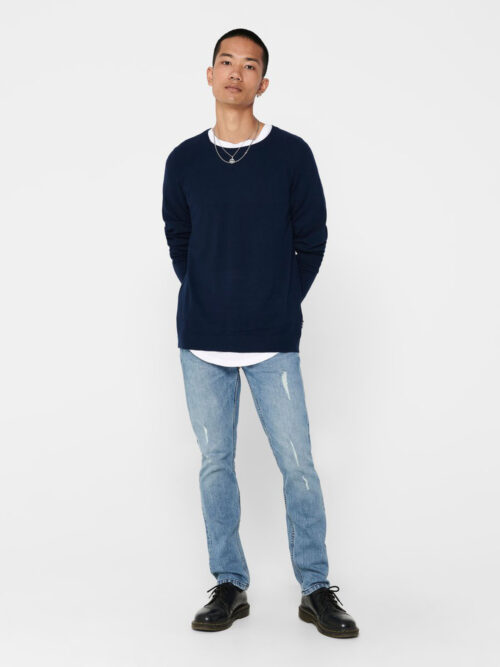 Only & Sons Mikkel 12 Soft Crew Raglan Knit Dress Blues