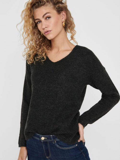 Only Camilla V-neck Pullover Knit Dark Grey Melange