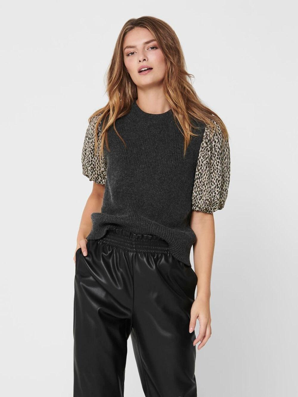 Only Paris Life Vest Knit Dark Grey Melange