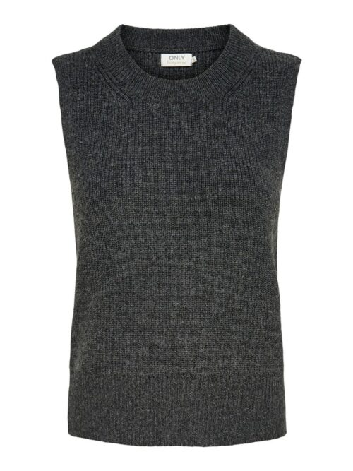 Only Paris Life Vest Knit Dark Grey Melange
