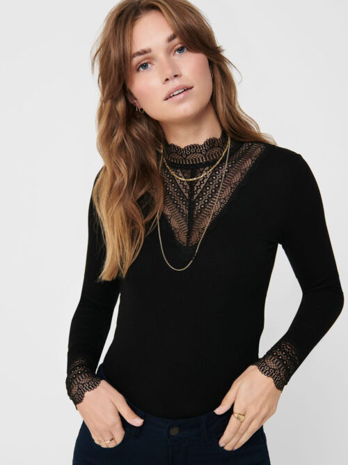 Only Tilde High Neck Lace Top Black