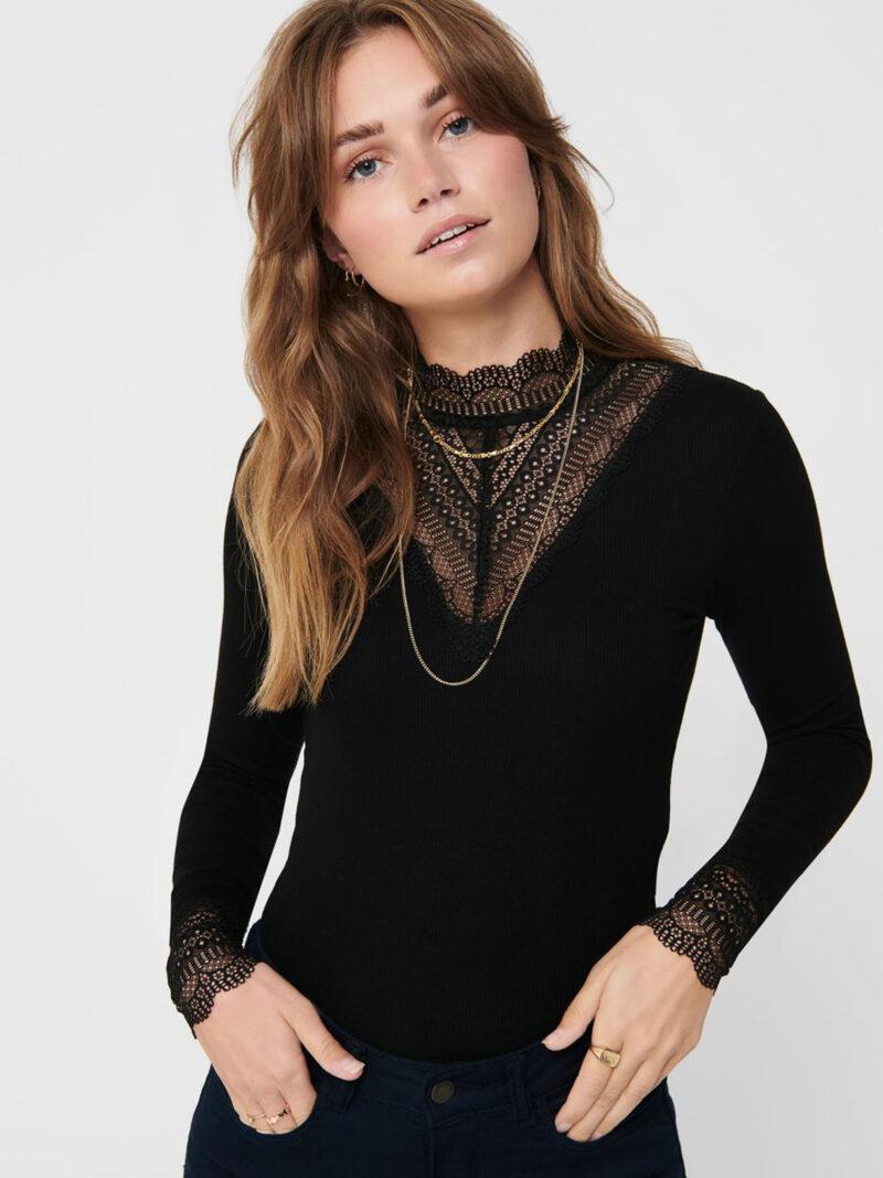 Only Tilde High Neck Lace Top Black