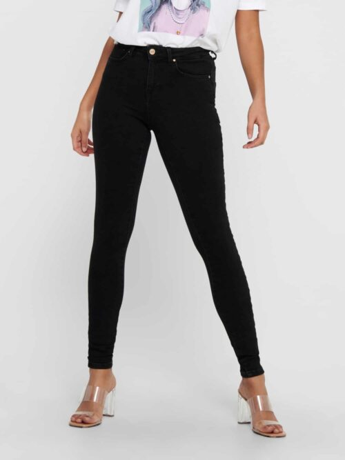 Only Power Life Mid Push Up Skinny Jeans Black