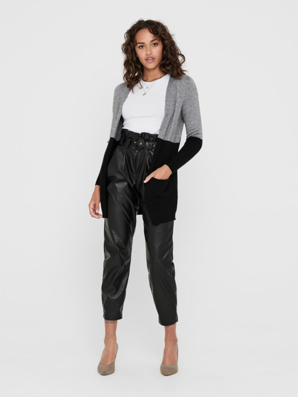 Only Queen Long Cardigan Medium Grey Melange W. BLACK