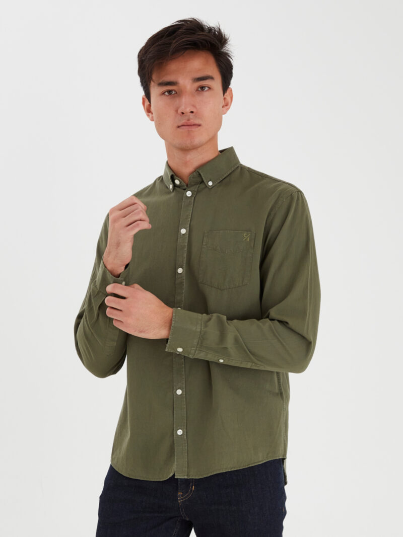 Casual Friday Anton BD Garment Dyed Skjorte Olivine