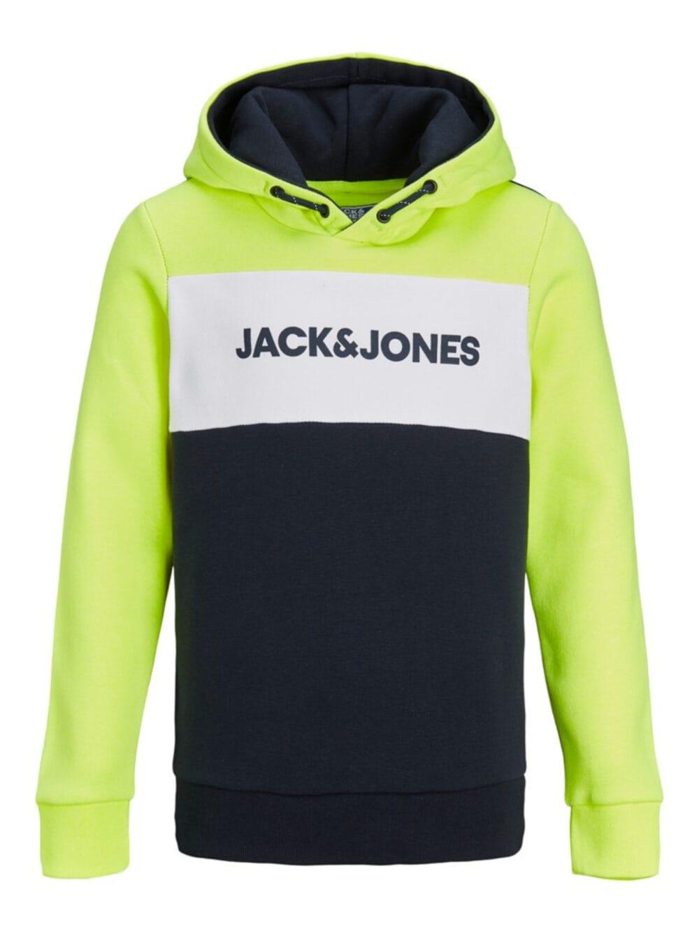 Jack & Jones Junior Neon Logo Blocking Sweat Hood Safety Yellow