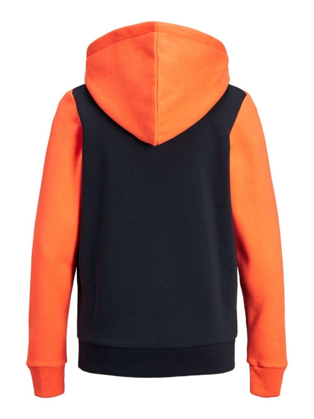 Jack & Jones Junior Neon Logo Blocking Sweat Hood Shocking Orange