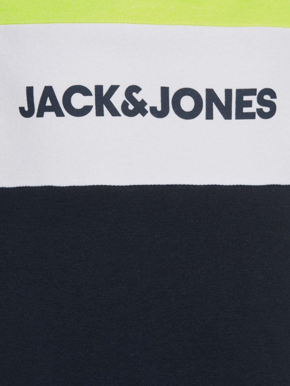 Jack & Jones Junior Neon Logo Blocking Tee Safety Yellow