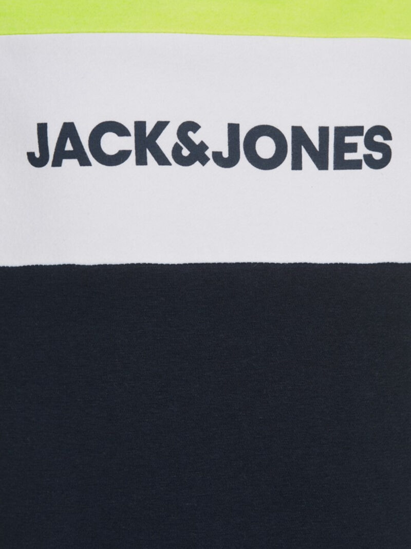 Jack & Jones Junior Neon Logo Blocking Tee Safety Yellow