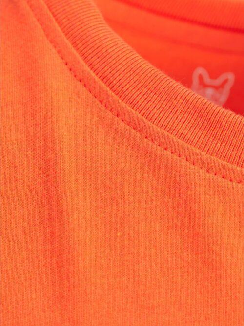 Jack & Jones Junior Neon Logo Blocking Tee Shocking Orange