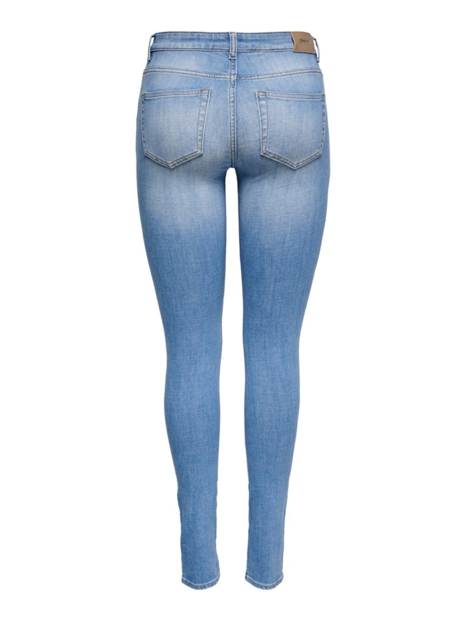 Only Anne K Life Mid Skinny Jeans Light Blue Denim