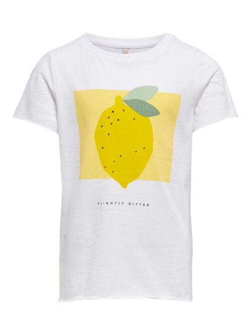 Kids Only Konliva Life T-shirt Bright White Lemon