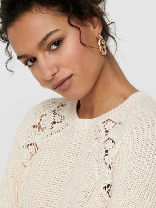 Only ONLMAGA Life Lace Pullover Knit Eggnog