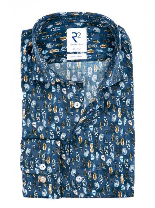 R2 Amsterdam Skjorte Blue Feather Print