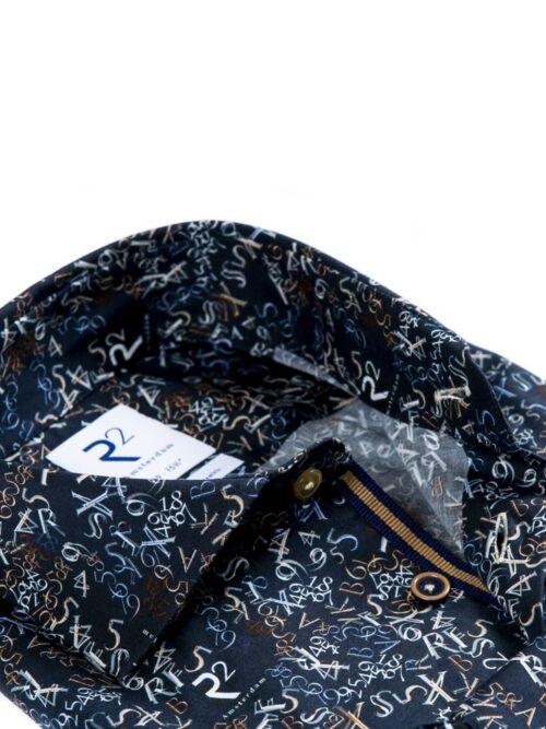 R2 Amsterdam Skjorte Dark Blue Letter Digit