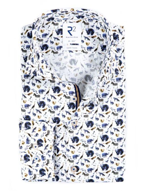 R2 Amsterdam Skjorte White Animal Print