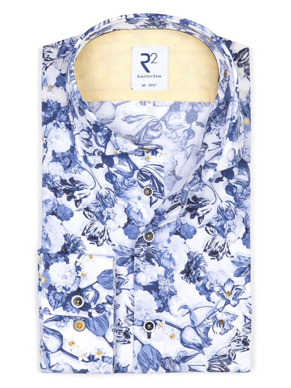 R2 Amsterdam Skjorte White Flower Print